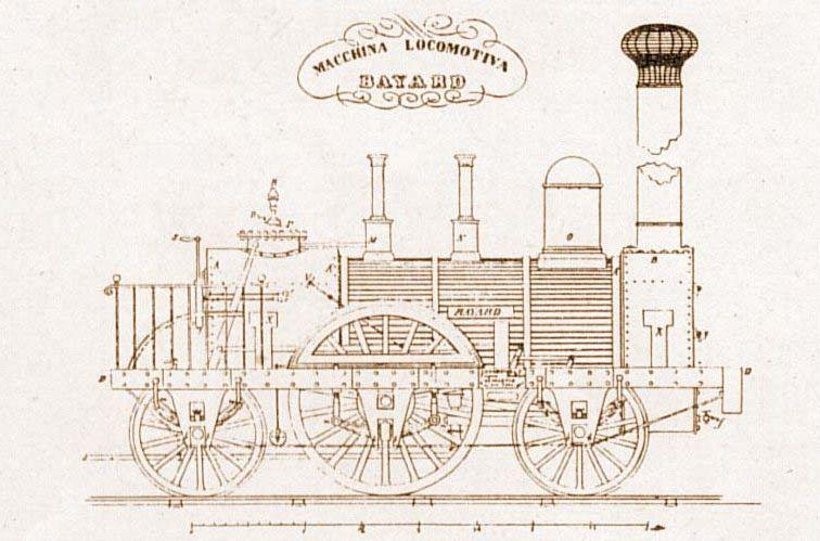 """Macchina Locomotiva """"Bayard"""", fonte dell'immagine: http://www.lestradeferrate.it/mono28.htm"""